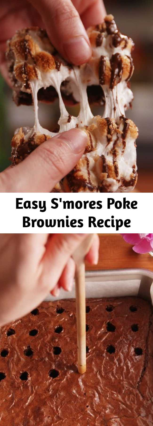 Easy S'mores Poke Brownies Recipe - Just when we thought we had seen every type of s'more possible this one blew us away. Brownies get poked AND topped with marshmallows and then drizzled with chocolate. We are in love.