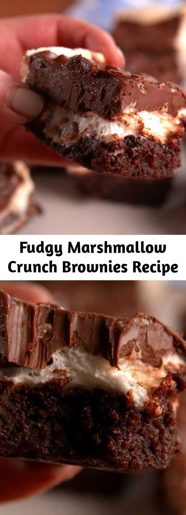 Fudgy Marshmallow Crunch Brownies Recipe - Fudgy, chewy, and completely gluten-free. Super fudgy brownies topped with a layer of marshmallows and a chocolate, peanut butter and Rice Krispies mixture.