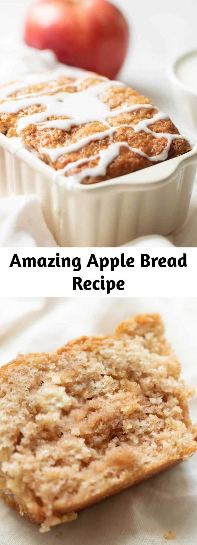 Amazing Apple Bread Recipe - This apple cinnamon bread recipe yields 6 mini loaves, making it great for both indulging and gifting! It's a foolproof no yeast quickbread that takes just 10 minutes from mixer to oven requires only staple ingredients. How is that for easy fall flavor? #applebread #sweetbread #apple #bread #applecinnamonbread #cinnamon #fall #fallrecipe