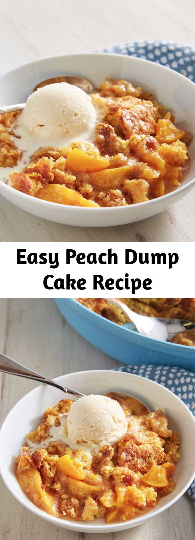 Easy Peach Dump Cake Recipe - Peach Dump Cake is as easy as can be with less than 10 minutes of hands-on time.