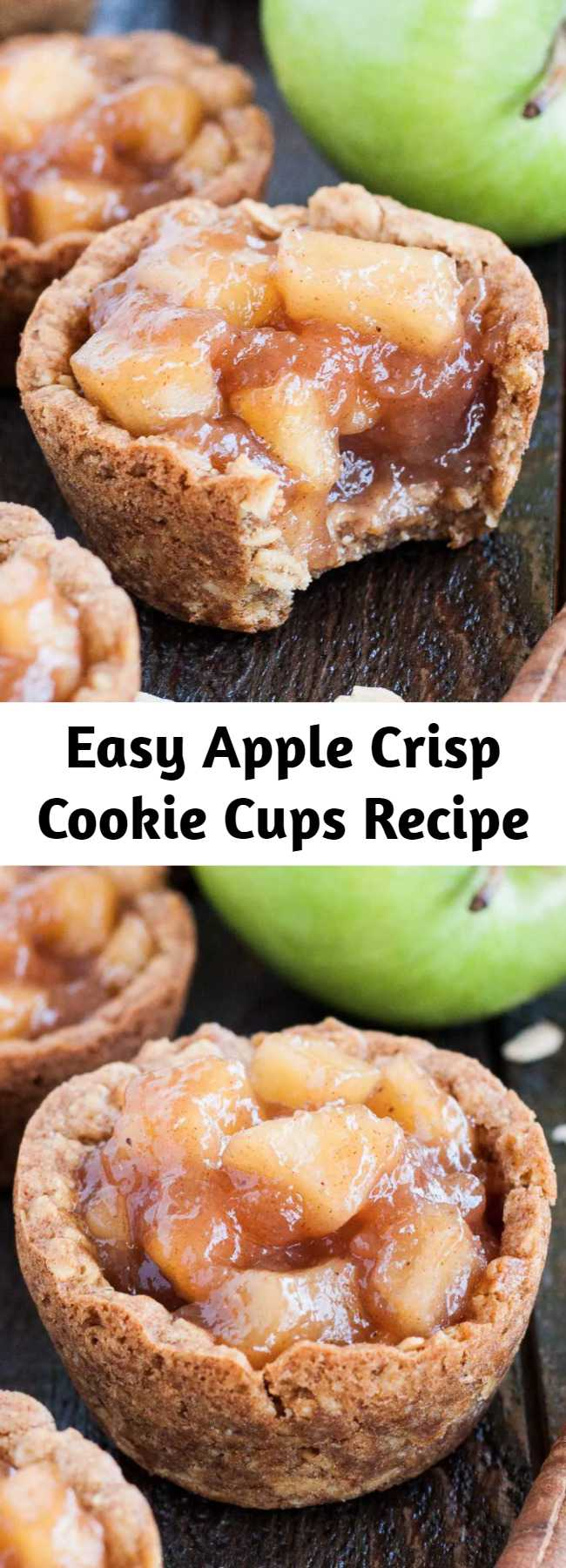 Easy Apple Crisp Cookie Cups Recipe - These Apple Crisp Cookie Cups combine classic oatmeal cookies with homemade apple pie filling for the perfect comfort food.