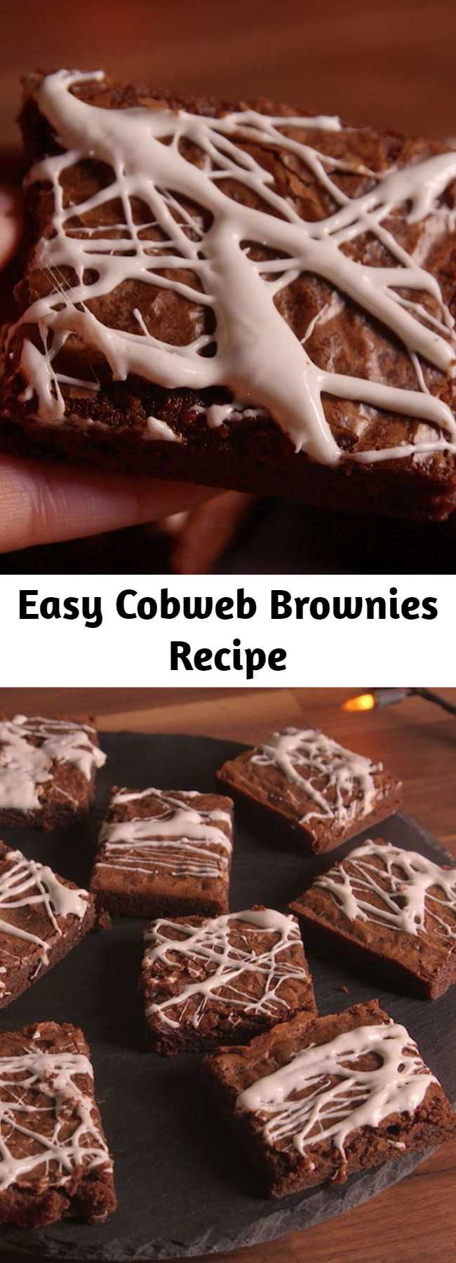 Easy Cobweb Brownies Recipe - Here's the super easy way to dress up a box of brownies.