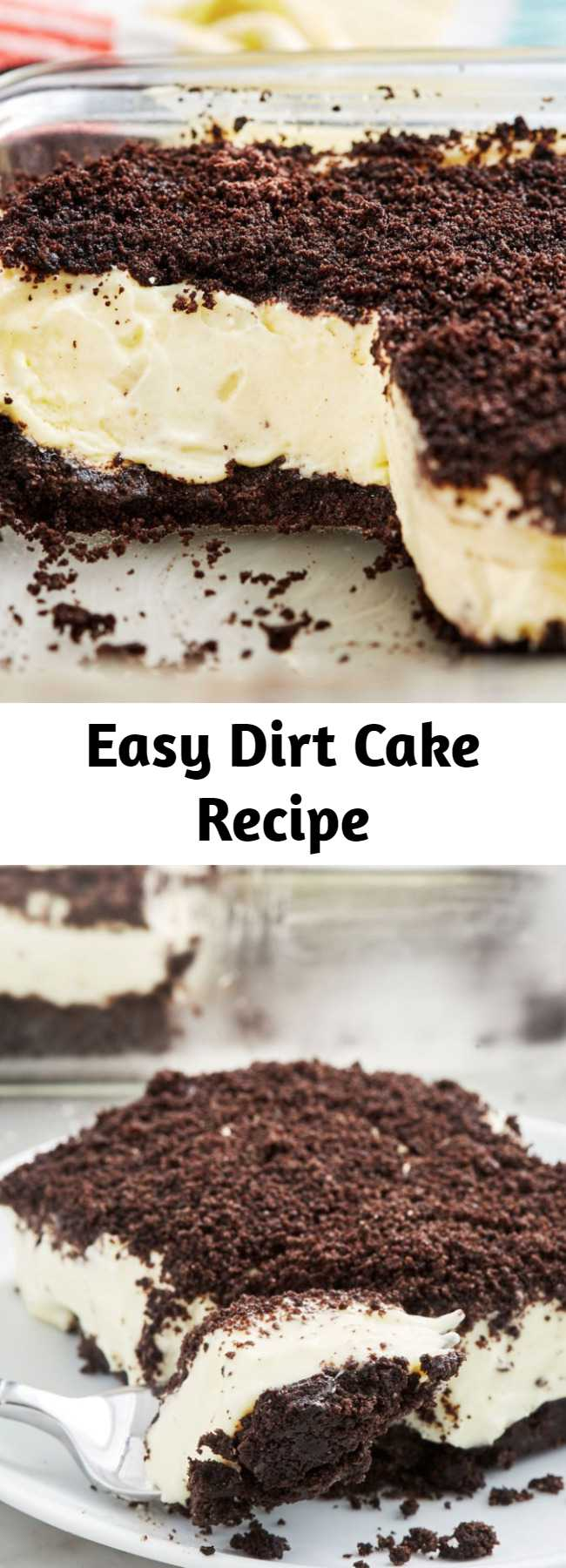 Easy Dirt Cake Recipe - Kids and adults alike will love to dig into this Dirt Cake. Throw some gummy worms on top to make it a little creepier!