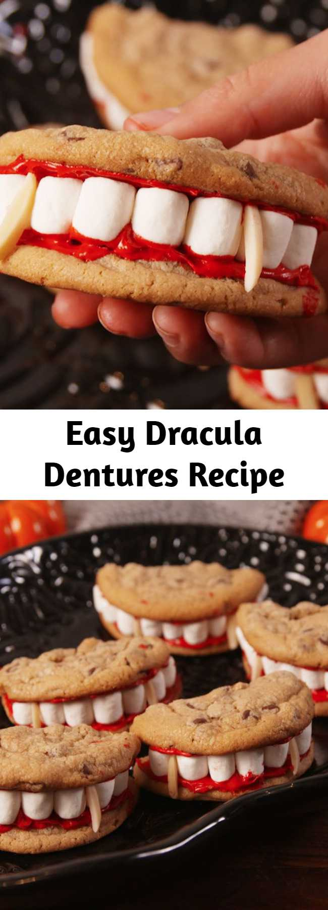 Easy Dracula Dentures Recipe - The only tasty dentures. Look at those marshmallowy whites.