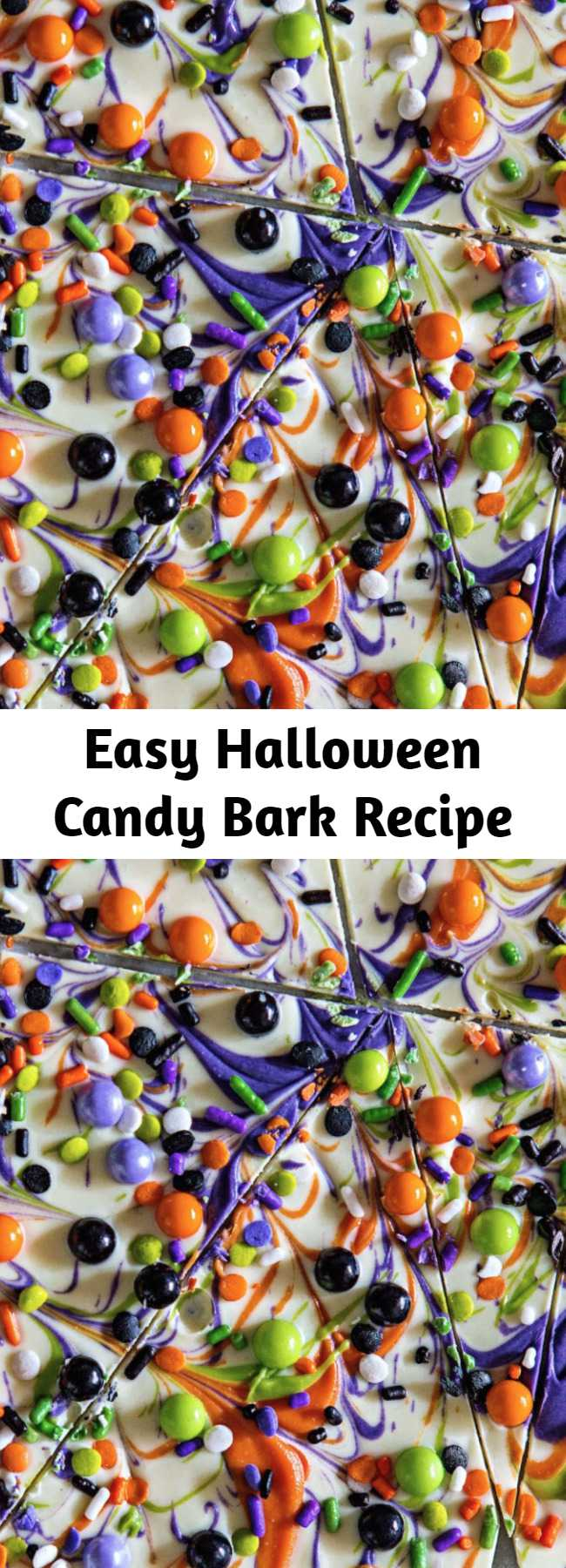 Easy Halloween Candy Bark Recipe - This white chocolate bark is probably the most simple from-scratch Halloween treat you can make.