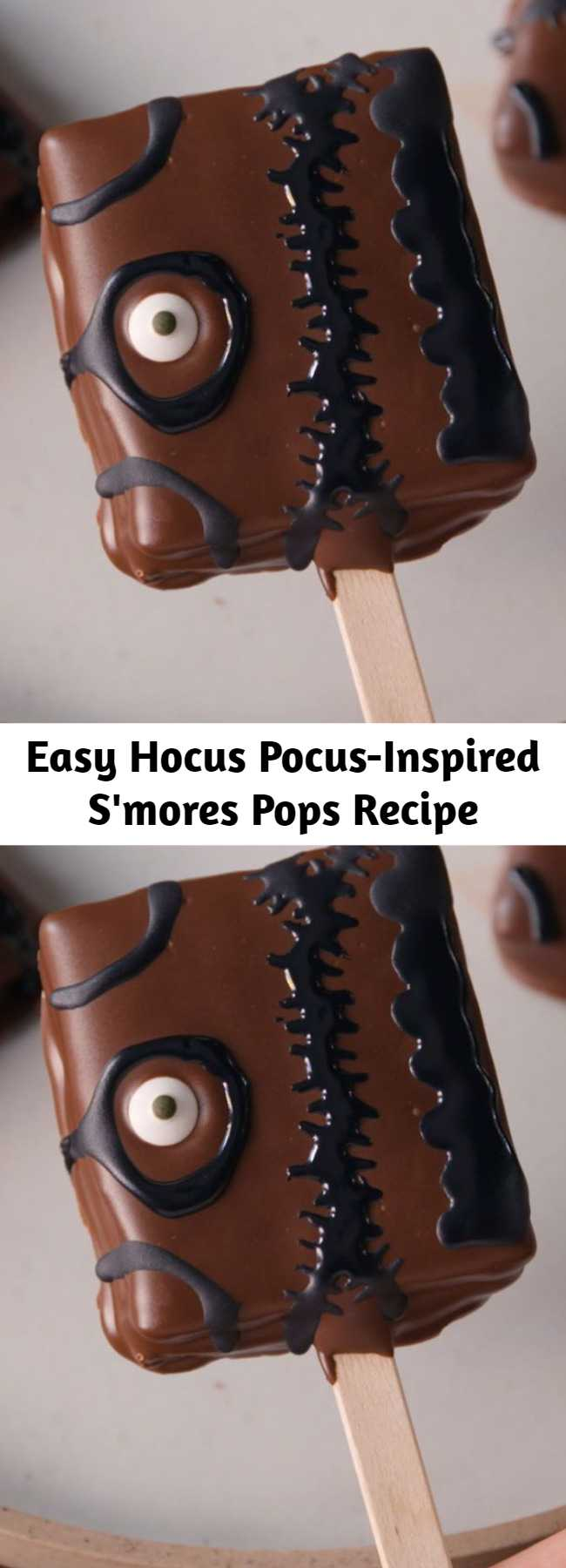 Easy Hocus Pocus-Inspired S'mores Pops Recipe - Looking for an easy Halloween dessert idea? This Hocus Pocus-Inspired S'mores Pops Recipe is the best. You'll love them even more than Bette Midler loved her booooook! (Note: You'll need popsicle sticks and candy eyes to complete the look.) #halloween #recipes #easyrecipes #diy #hocuspocus #disney #pops #hocus #pocus #smores #dessert #forparties #kids #ideas