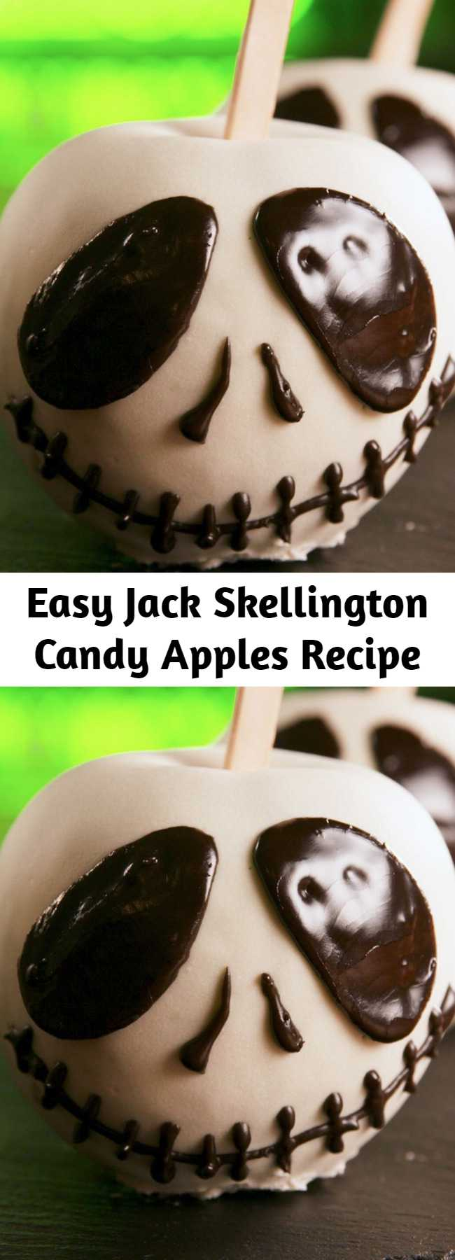 Easy Jack Skellington Candy Apples Recipe - Have a happy Halloween with these Jack Skellington Candy Apples.