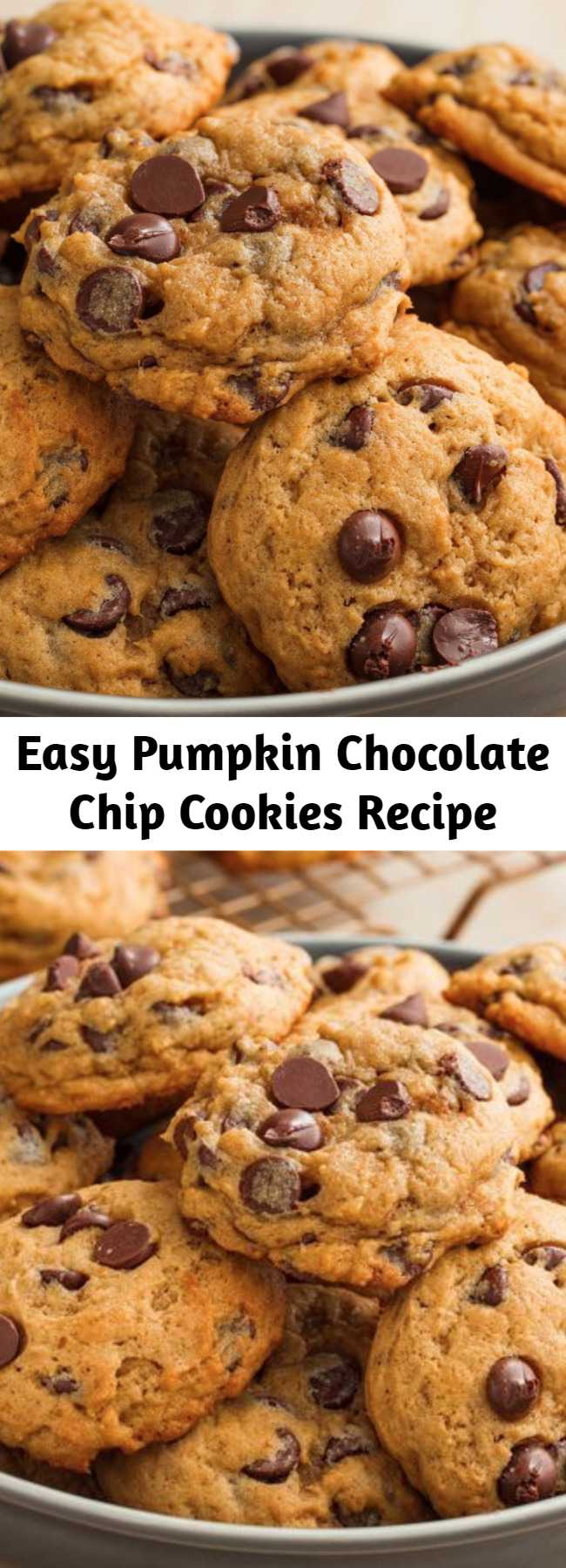 Easy Pumpkin Chocolate Chip Cookies Recipe - This is one of our most popular fall desserts, and it's not hard to see why. Adding pumpkin puree and pumpkin spice to the cookie dough results in a heavenly pillow-like cookie with major autumn vibes.