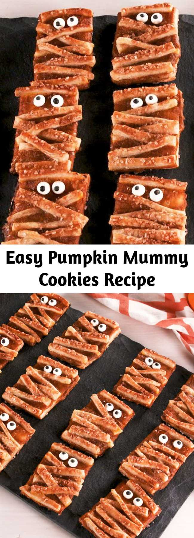 """Easy Pumpkin Mummy Cookies Recipe - These adorable """"cookies"""" are basically mini pumpkin pies. Pumpkin Mummy Cookies from Delish.com are so adorable, you'll be screaming with joy this Halloween."""