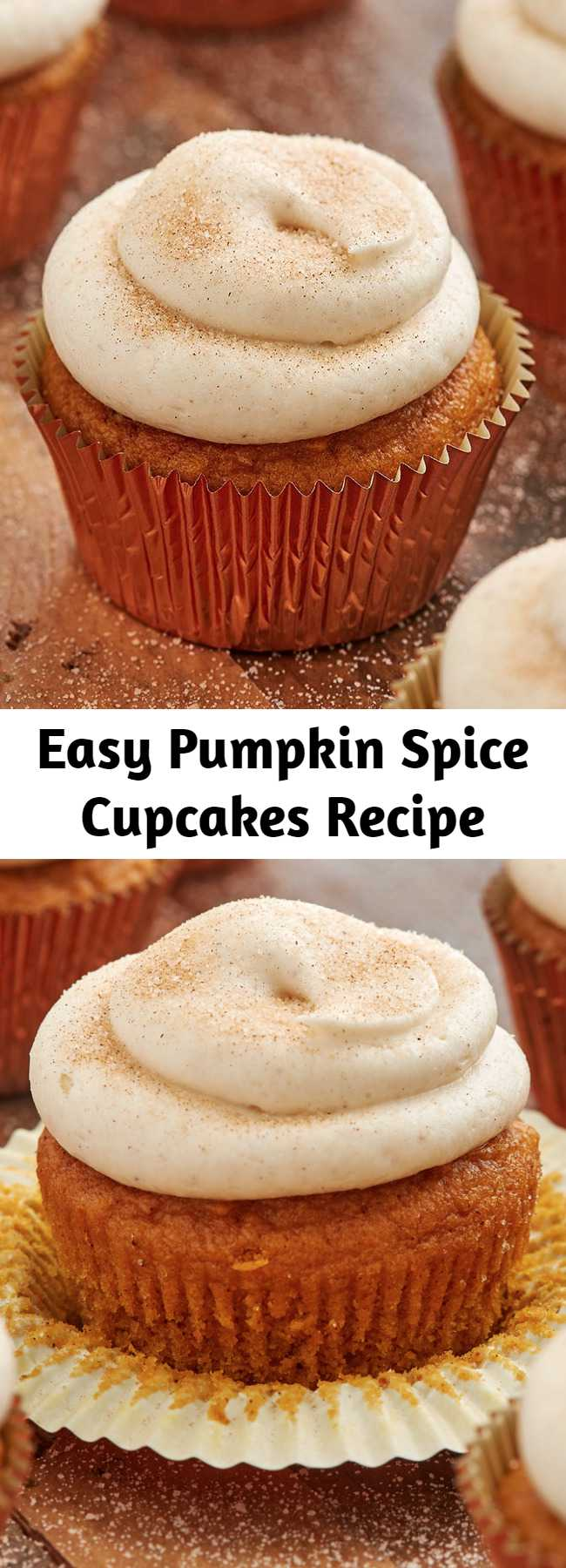 Easy Pumpkin Spice Cupcakes Recipe - If you are looking for a perfect pumpkin cupcake, look no further. These easy sweets are full of pumpkin spice and topped with a simple cream cheese frosting. We love it topped with some cinnamon sugar, but more pumpkin spice would also be delicious. Put these on the top of your baking list this fall!