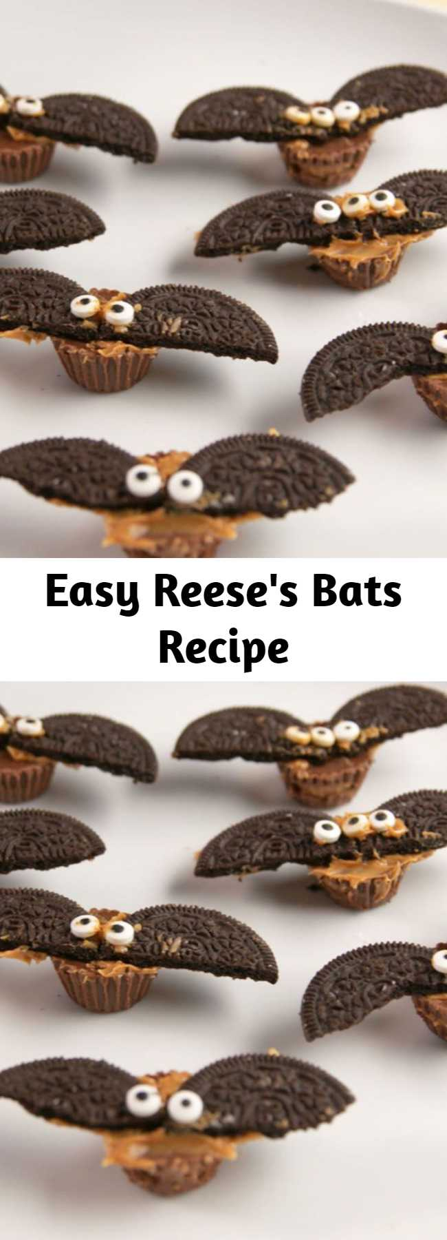 Easy Reese's Bats Recipe - These will fly away at your next Halloween party! #easy #recipe #reeses #bats #halloweenideas #halloween #halloweenfood #candy #chocolate #peanutbutter #oreo