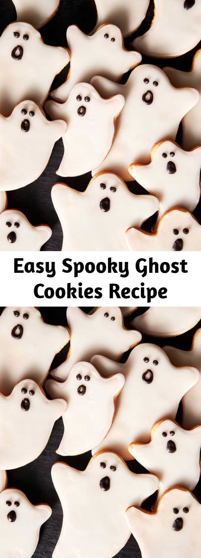 Easy Spooky Ghost Cookies Recipe - The best way to never be afraid of ghosts? Turn them into cute little sugar cookies. These spooky ghosts will be a hit at every halloween party and are far easier to make then they look! Here's our best tips and tricks we have for decorating sugar cookies.