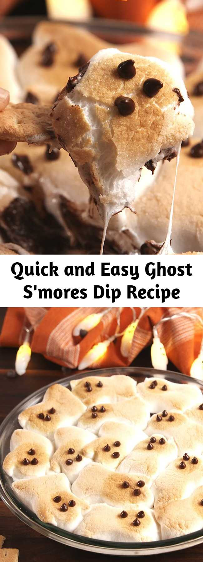 Quick and Easy Ghost S'mores Dip Recipe - A scary delicious Halloween dip that's easy to make whenever you need a quick treat.